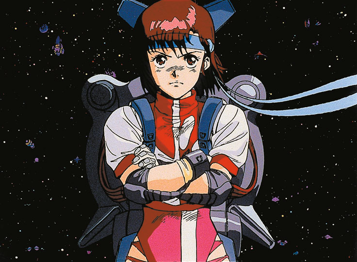 Noriko from Gunbuster frowning determinedly with her arms crossed from her pilot's chair