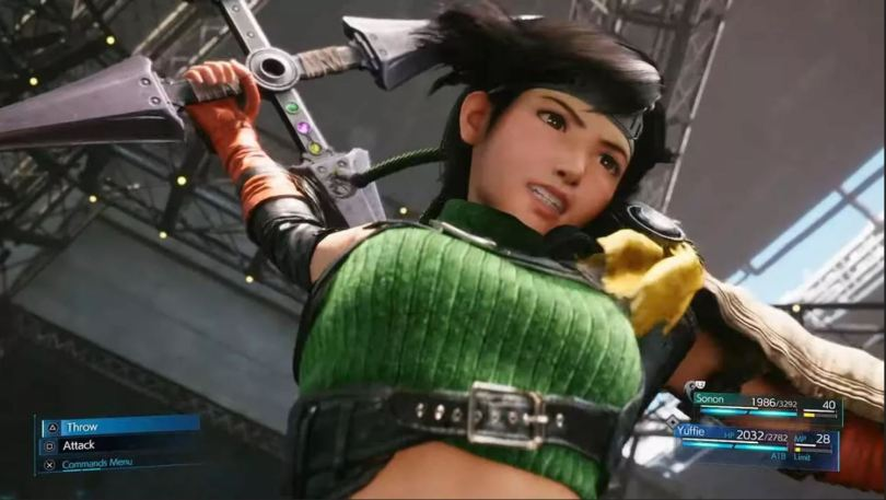 Yuffie from final fantasy 7 remake, her arm raised mid-attack with her weapon