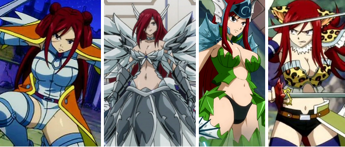 four images of Ezra in different revealing armors