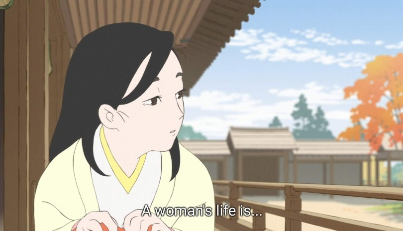 """Tokuko crouches on a porch and looks off to the side, melancholy. She says """"A woman's life is..."""""""