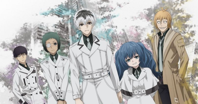 cast photo of Tokyo Ghoul wearing white trenchcoats