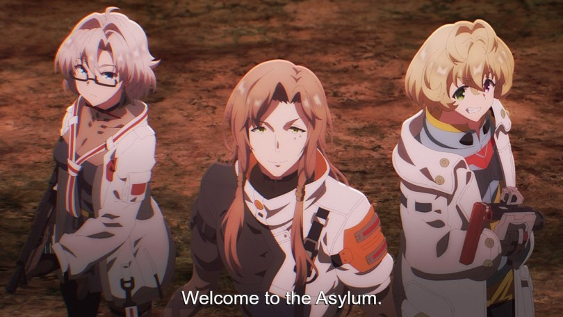 Shigure's teammates get ready to take on one of the Asylum's many beasts.
