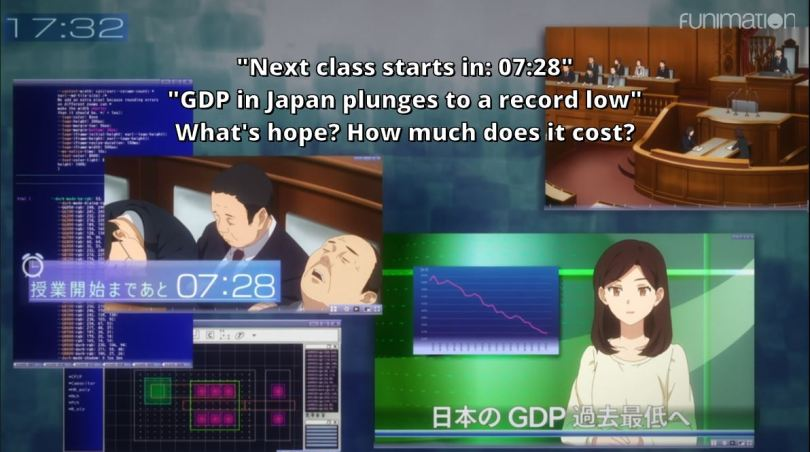 news footage of Japan's low GDP. subtitle: What's hope? How much does it cost?
