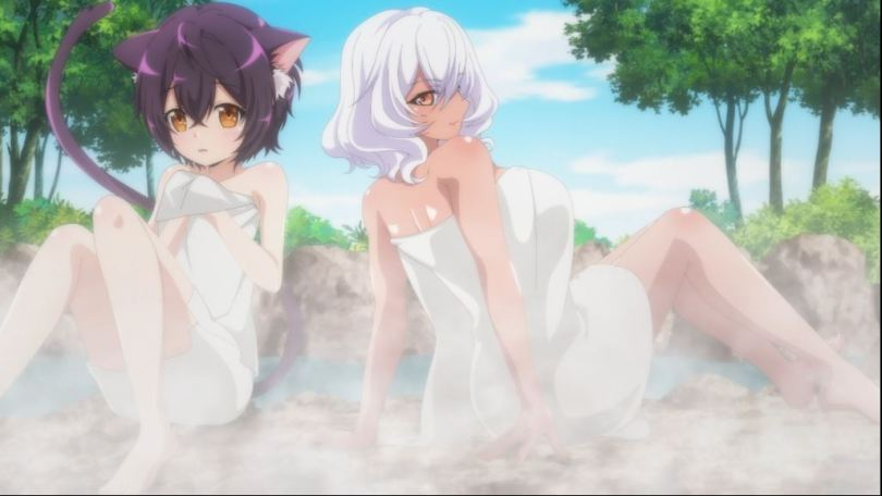 two naked and shiny girls in towels