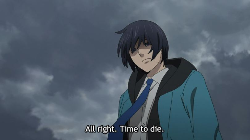 Mirai on a rooftop. subtitle: All right. Time to die.