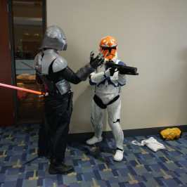 Photo of a cosplayer at Otakon 2021 dressed as Storm Troopers