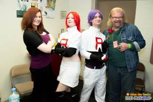 Double Vision, as Jesse and James cosplayers pose with their voice actor counterparts.