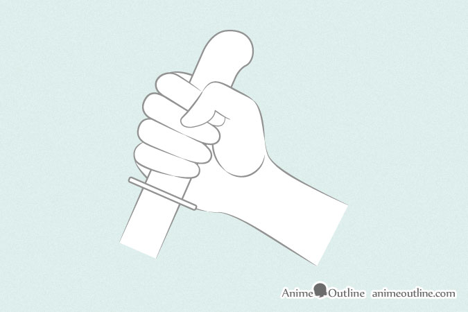 hand holding gun drawing