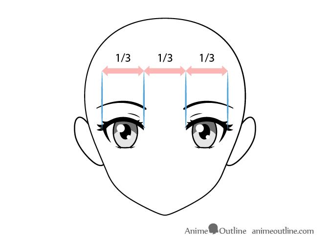 Female anime eyes spacing
