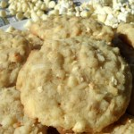 Caramel Corn, Coconut and White Chocolate Chip Cookies