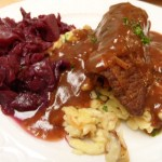Beef Rouladen with Spätzle and Red Cabbage