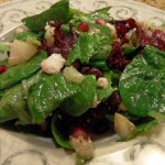 Salad with Pears, Pomegranates, Pistachios, and Feta with a Pomegranate Vinaigrette