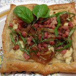 Breakfast Pastry with Prosciutto, Caramelized Onions and Boursin Cheese