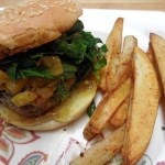 Burgers with Green Tomato Chow Chow Chutney and Oven Fries
