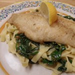 Catfish Piccata and Fresh Fettuccine with Spinach