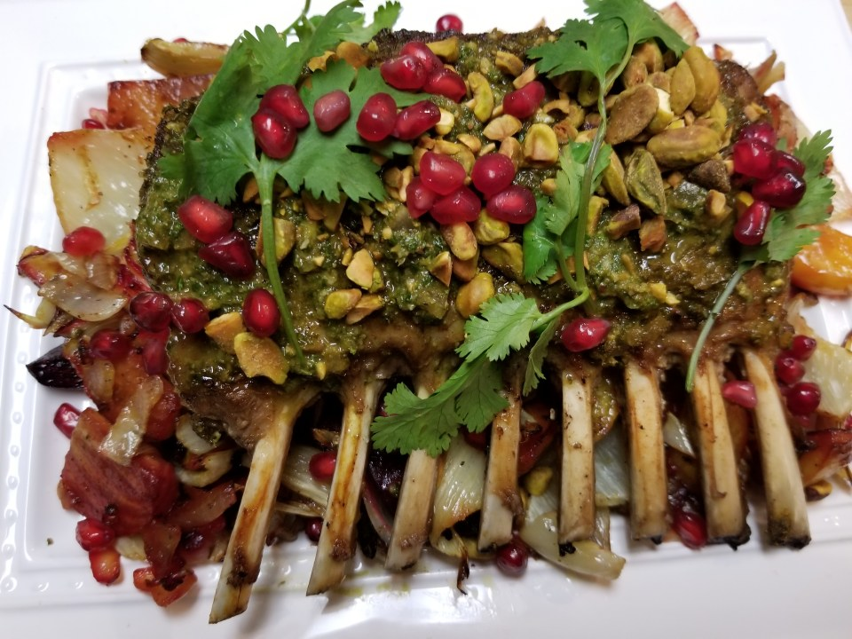 Rack of Lamb with Chermoula and Preserved Lemon with Roasted Fennel and Beets, Pistachios, and Pomegranates
