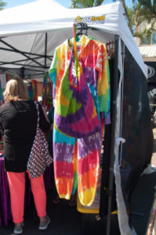 Rainbow Tie Dye Crazy Onesie and bag at the Cleveland Markets, Brisbane QLD Australia 20150802-VPR00343.jpg