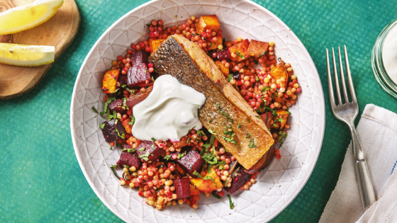 Seared Salmon Mint Pearl Couscous