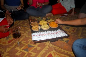 Wine and cheese under the starry desert sky
