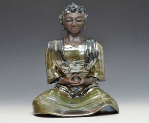 African Buddha in Green Raku Robe