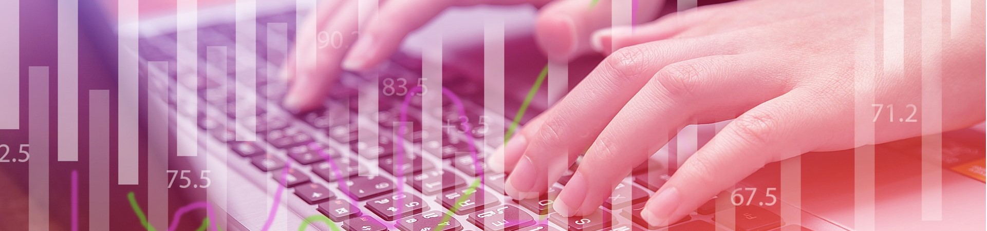 Woman working on keyboard with graphs overlay