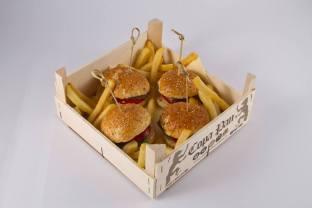 Cassetta in legno per hamburger