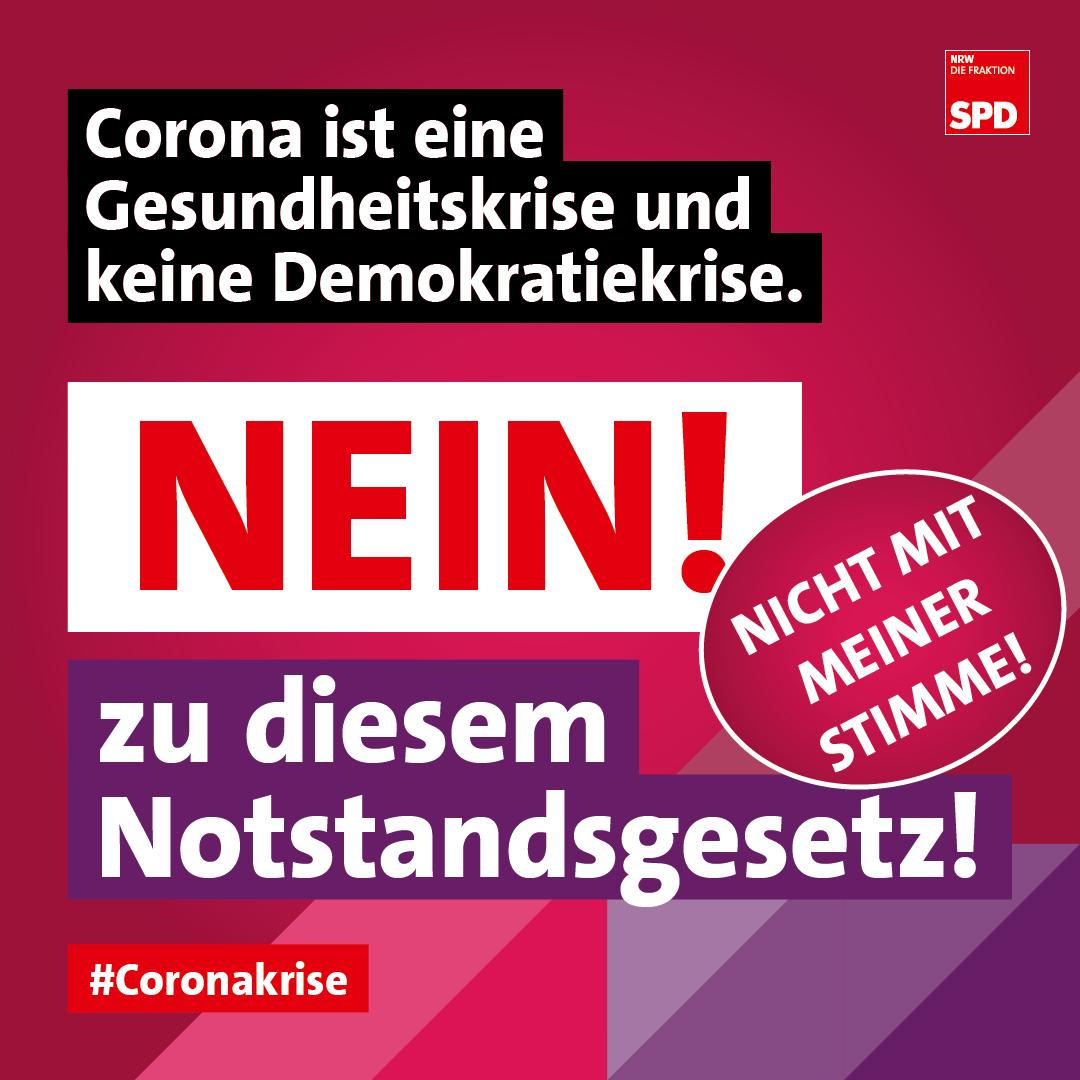 Corona ist eine Gesundheitskrise und keine Demokratiekrise - Nein zum NRW Notstandsgesetz