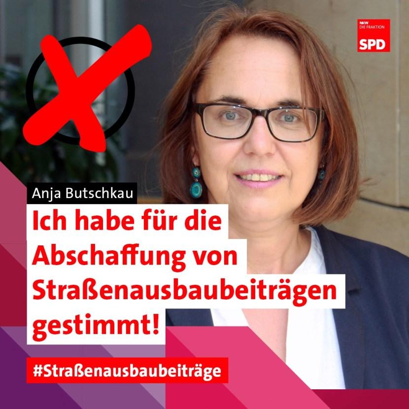 Abschaffung Straßenausbaubeiträge NRW Abstimmung Landtag Anja Butschkau