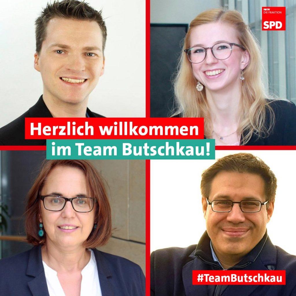 Robert Beckmann (o.l.) ist Ansprechpartner im Dortmunder Wahlkreisbüro. Larissa Lehr (o.r.) unterstützt die Arbeit von Anja Butschkau und Büroleiter Martin Schmitz im Landtag.