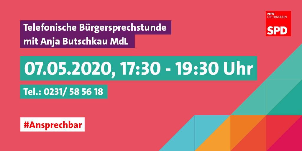 Telefonische Bürgersprechstunde Anja Butschkau ansprechbar 07.05.2020