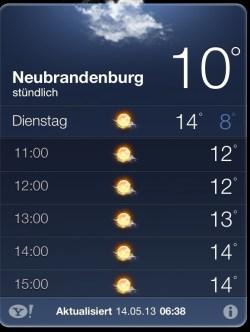 Wetterprognose Dienstag 14.05.2013