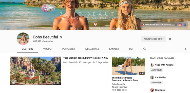 Boho beautiful - den bedste yoga youtube kanal