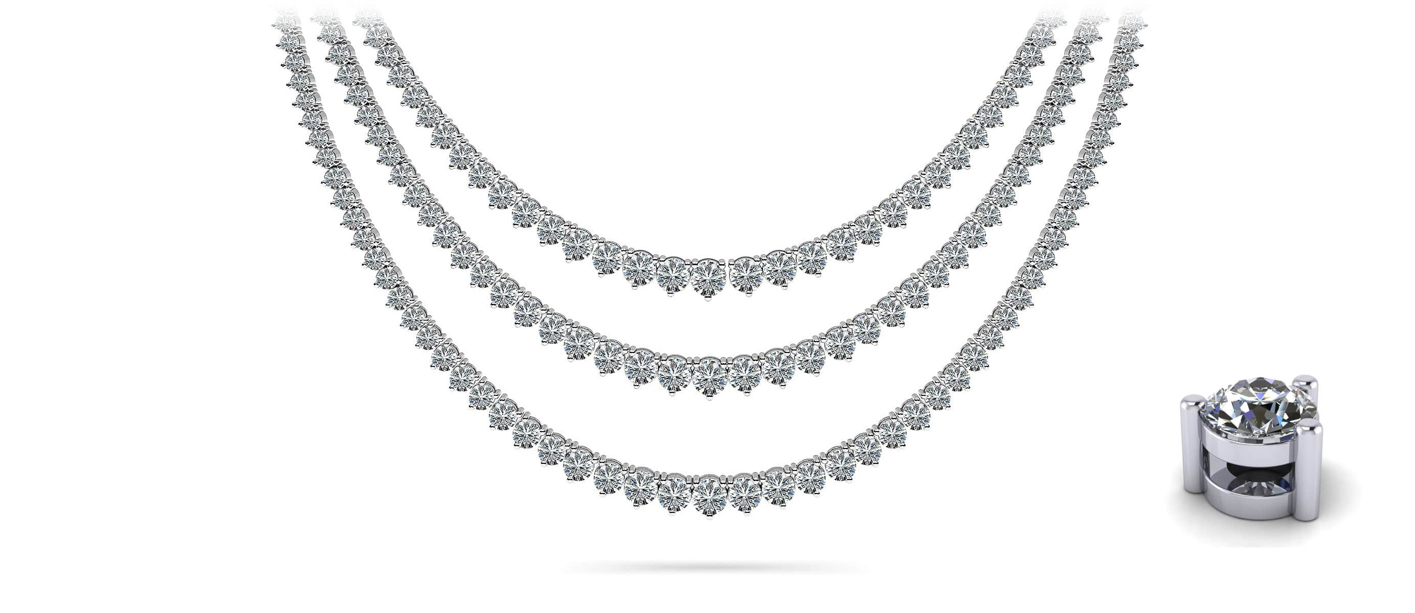 3 Prong Double Strand Graduated Diamond Necklace