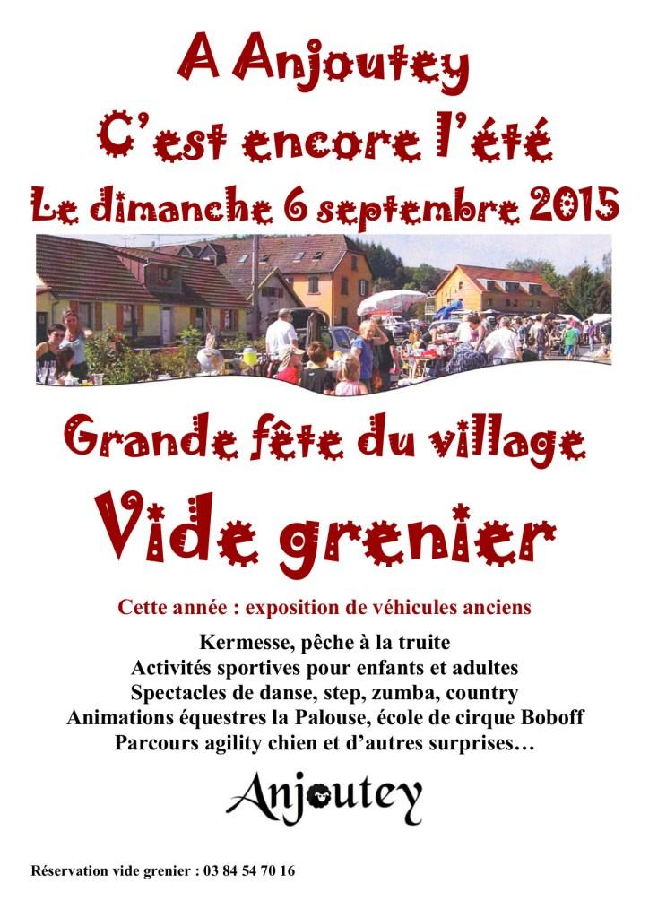 Affiche Anjoutey fête et vide grenier 2015
