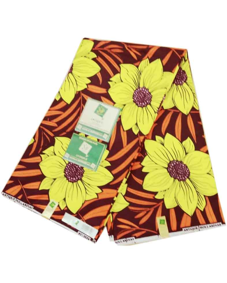 Avohoussou Ankara Fabric Brown With Yellow Flower Colour Pattern