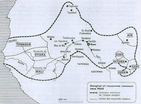 L'empire Sonrhaï s'étendait sur plus ou moins le Niger, le Mali et une partie du Nigeria actuels.