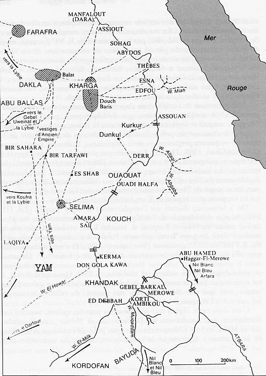 Carte de l'ancienne Nubie