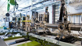 An experimental station at SLAC's Linac Coherent Light Source X-ray free-electron laser where scientists used a new tool they developed to watch atoms move within a single atomic sheet. (Image courtesy of SLAC National Accelerator Laboratory.)