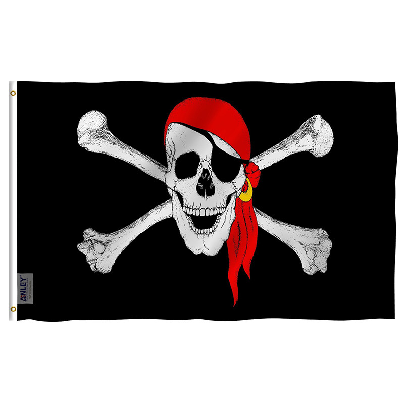 Jolly Roger Flag with Red Bandana