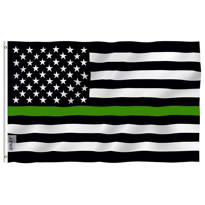 Thin green line us flag