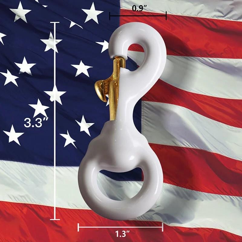 White Rubber Coated Brass Swivel Snap Hook