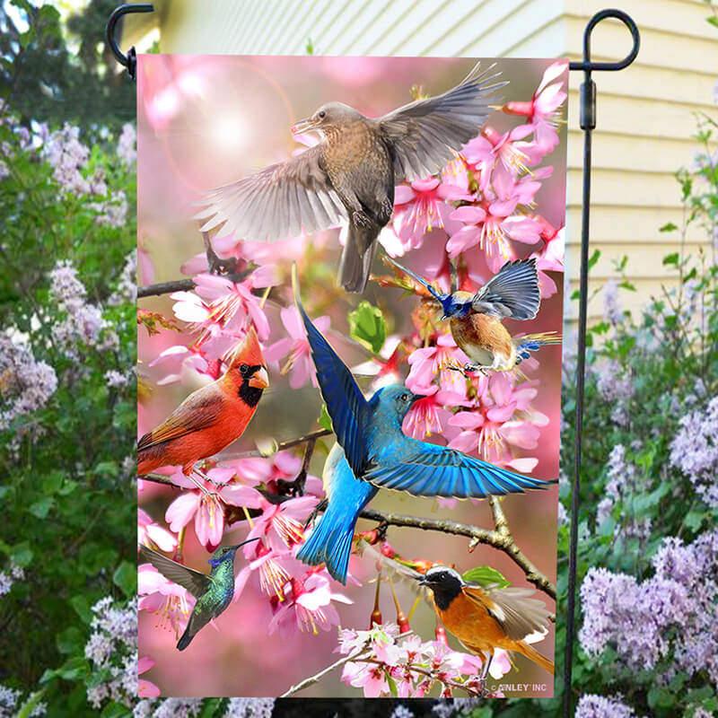 Flower bird flag