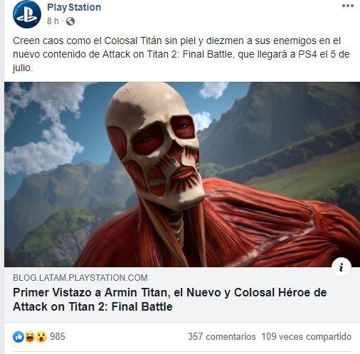 Playstation spoilea una escena del anime Shingeki no kyojin