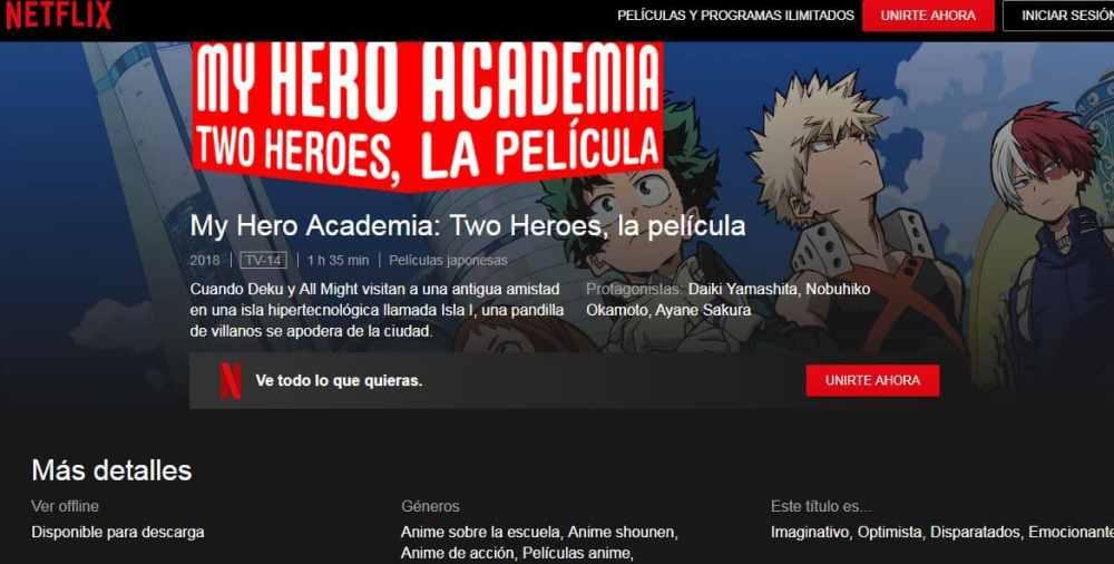 Boku No Hero Academia: Futari No Hero ya esta disponible en Netflix