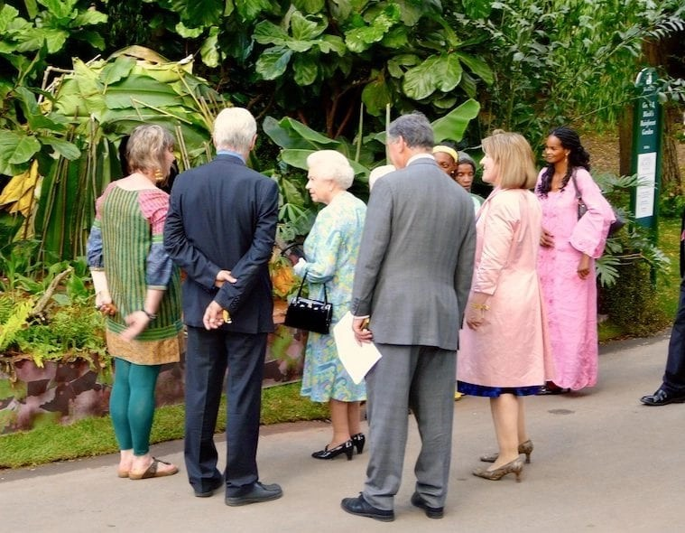 H.M> the Queen viewing The RHS Chelsea Flower Show Rainforest show garden