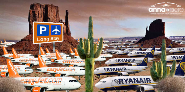 easyJet and Ryanair planes parked in the Arizona desert 'long stay'.