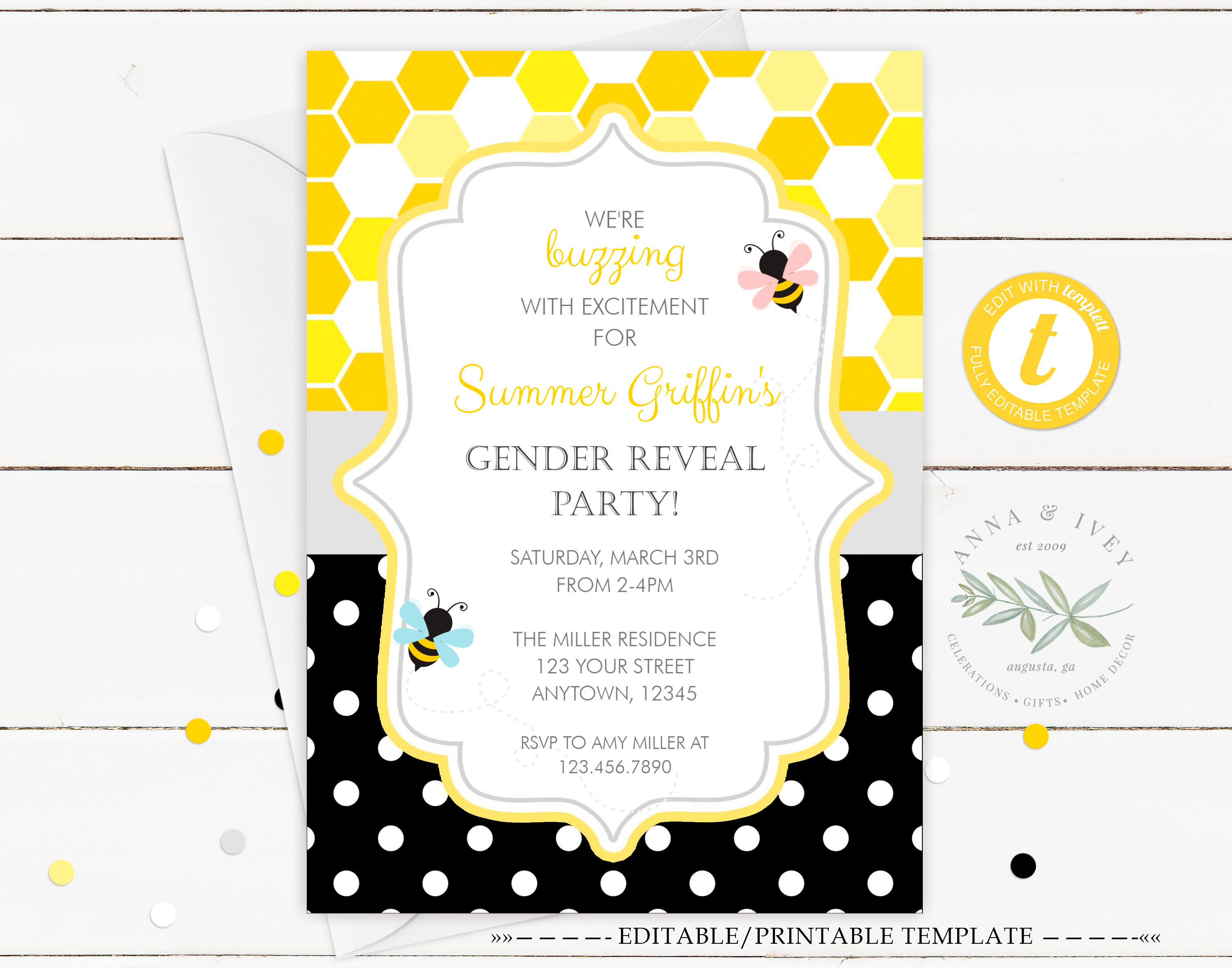 Printable Bumble Bee Honeycomb Dots Gender Reveal Invitation