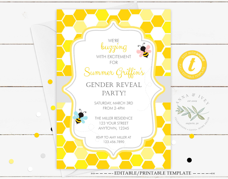 Printable Bumble Bee Honeycomb Gender Reveal Invitation