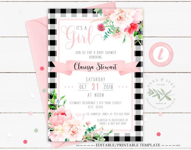 Printable Black Plaid Pink Fl Baby Shower Invitation