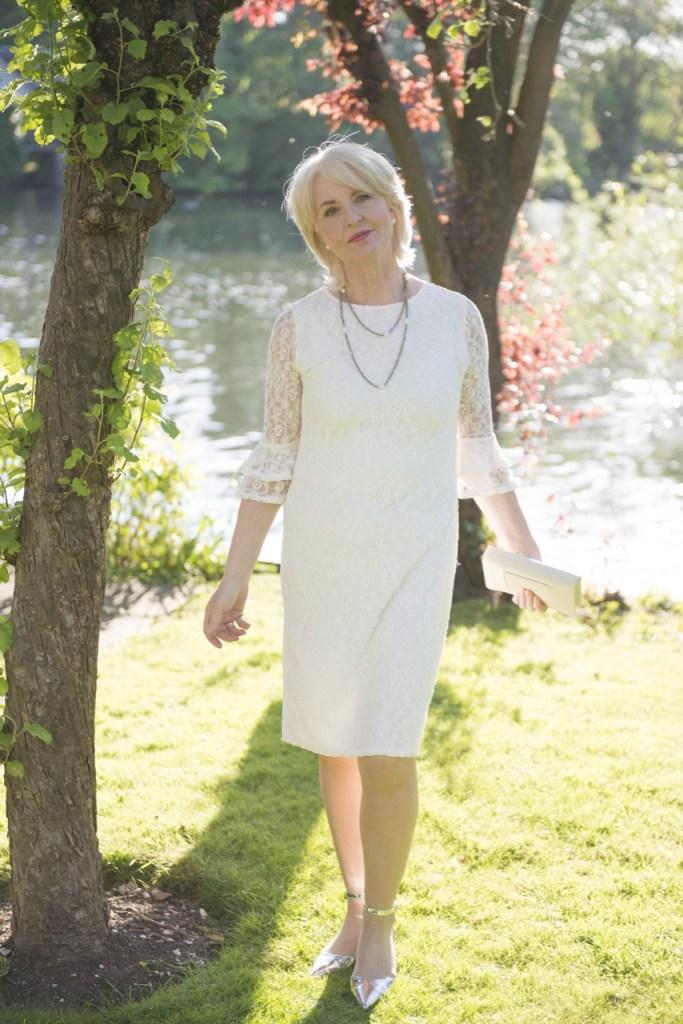 JD WILLIAMS Joanna Hope double cuff lace dress £49 Mixed fabrics Handwash